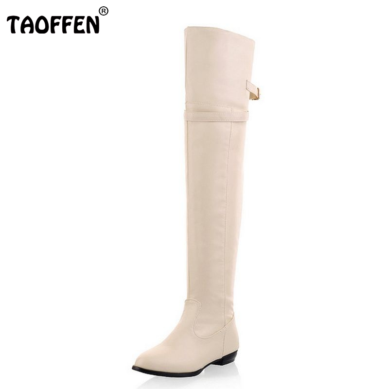 Size 34-45 Women Flat Over Knee Boots Ladies Fashion Long Snow Boot Warm Winter Brand Botas Footwear Shoes P9460 coolcept size 30 47 women square high heel over knee boots snow long boot warm winter brand botas footwear heels shoes p20222