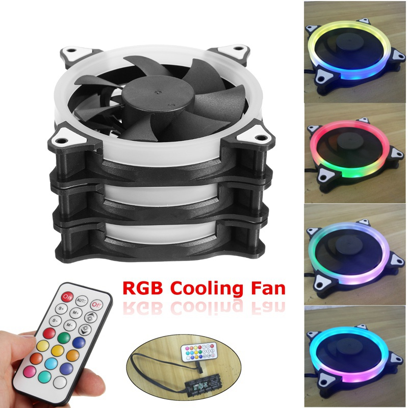 3pcs 12V 120mm Computer Case PC Cooling Fan RGB Adjustable LED Quiet + IR Remote New Silent fan Cooling Cooler Fan For CPU personal computer graphics cards fan cooler replacements fit for pc graphics cards cooling fan 12v 0 1a graphic fan