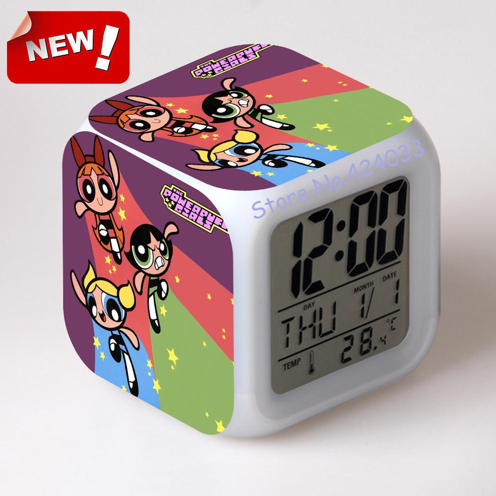 powerpuff girl alarm clock led light 7 color change cool gadgets watch masa saati vintage table square digital alarm clocks from home