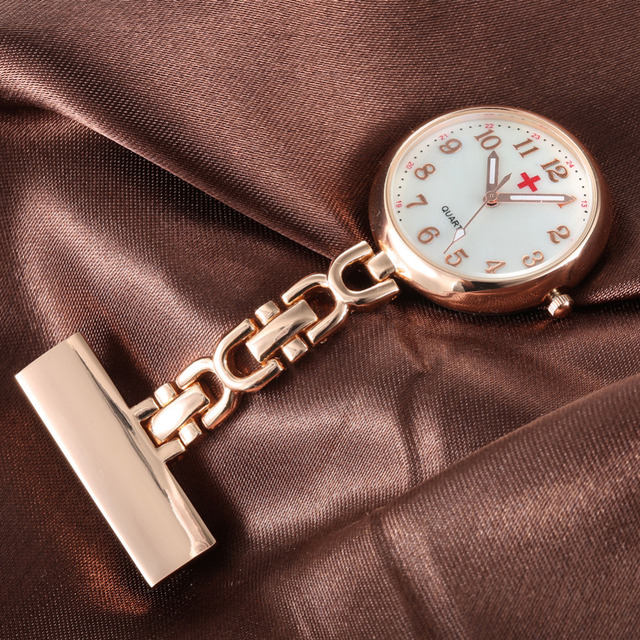 New Luxury Round Dial Clip-on Fob Nurse Pocket Watch Quartz Brooch Hanging Fashi