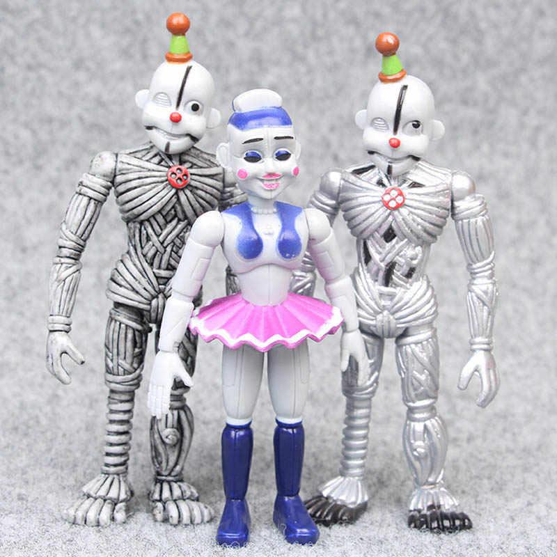 6 pçs/lote Cosplay FNAF Foxy das Cinco Noites No Freddy Freddy Freddy Chica PVC Action Figure Modelo Boneca Brinquedos Para Presentes Dos Miúdos