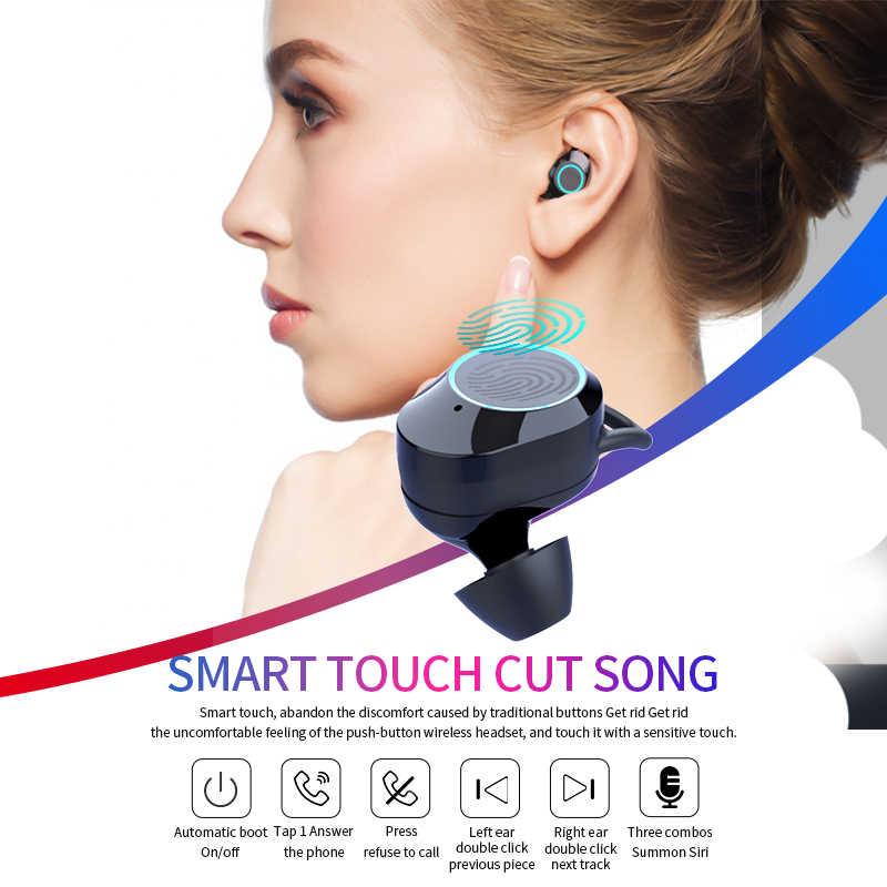 G02 V5.0 Bluetooth ステレオイヤホンワイヤレス IPX7 防水タッチホンインナーイヤーヘッドセット 3300 650mah のバッテリー Led ディスプレイタイプ c 充電ケース