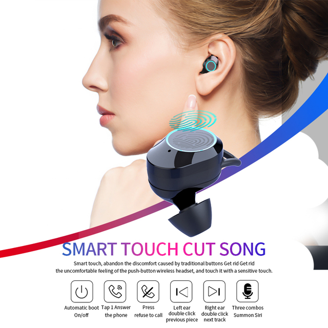 G02 V5.0 auriculares estéreo Bluetooth inalámbricos IPX7 auriculares táctiles impermeables auriculares 3300mAh batería LED pantalla tipo c caja de carga