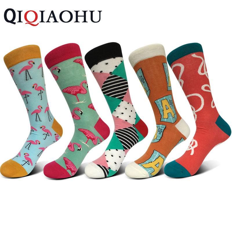 5pairs/set fashion mens combed cotton long socks lot colorful funny happy socks flamingo pattern socks animal design wedding sox