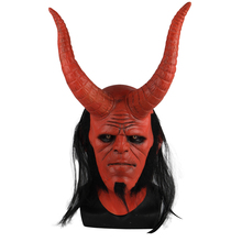 Película Hellboy: Rise of the Blood máscara de Reina Ox máscara con cuerno mano derecha guantes para juegos de disfraces armadura guante de mano de látex guantelete fiesta Halloween