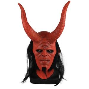 Image 1 - Película Hellboy: Rise of the Blood máscara de Reina Ox máscara con cuerno mano derecha guantes para juegos de disfraces armadura guante de mano de látex guantelete fiesta Halloween