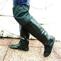Botas de agua Zapatos Solo Mocasines Tierras de Cultivo Overknee Botas de Goma de Trabajo Lace Up Desgaste de Vadeo Trabajo Lluvia Muslo Botas de Pesca de Los Hombres Planos del Talón