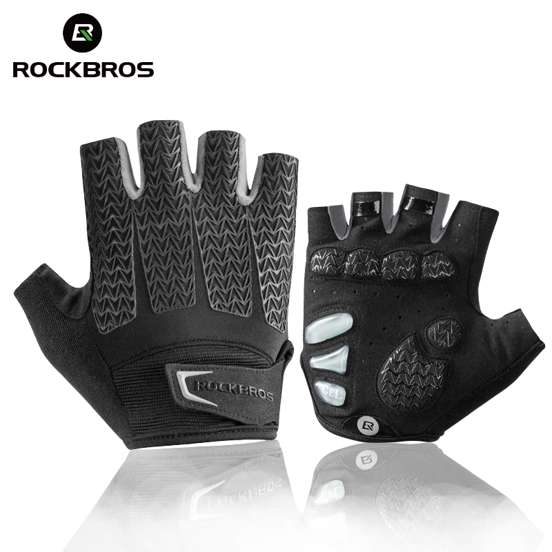ROCKBROS Cycling Gloves Bike Shockproof Foam Padded Half Finger Short Glove Anti Slip Breathable MTB DH Rode Bicycle Mens Gloves