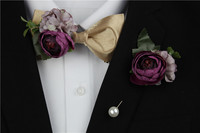 Free Shipping New fashion casual male men's man Original high quality Flower Brooch corsage suits bow tie set wedding decoration