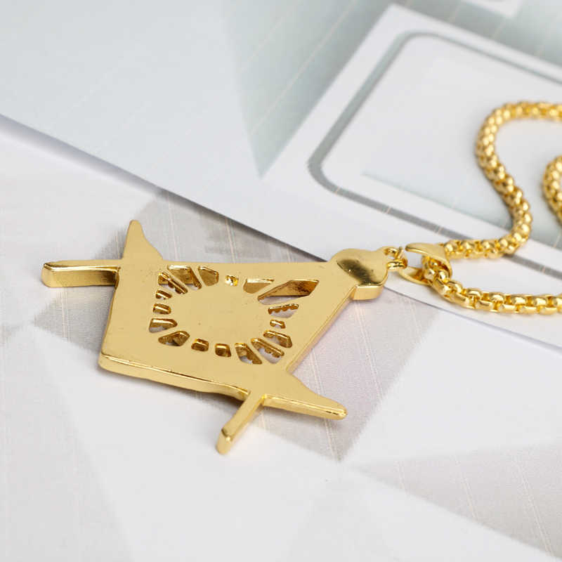 HIP Hop Iced Out kryształ masoński masoneria wisiorki naszyjniki Bling złota ze stali nierdzewnej łańcuszek na akcesoria dla mężczyzn biżuteria