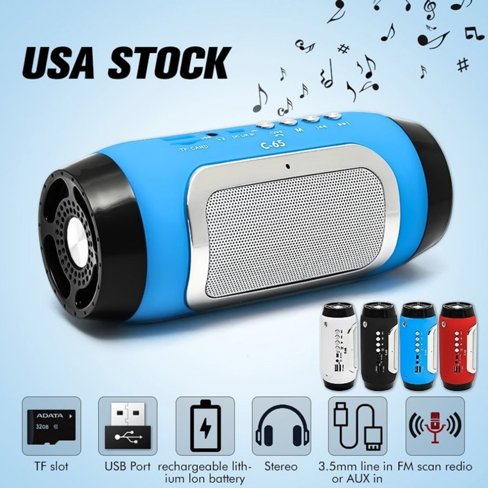 ACEHE Portable Bluetooth Wireless Speaker USB Rechargeable High Power Stereo Speaker Long Playtim FM 3.5Mm Hands-Free Call