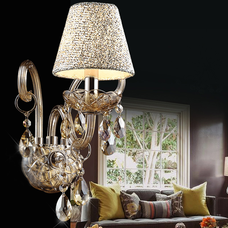 European Aisle Light Creative Crystal Wall Sconces E14 Modern Luxury Wall Light Home Decor Bedroom Bedside L& Lighting WL228-in Wall L&s from Lights ... : luxury wall sconces - www.canuckmediamonitor.org