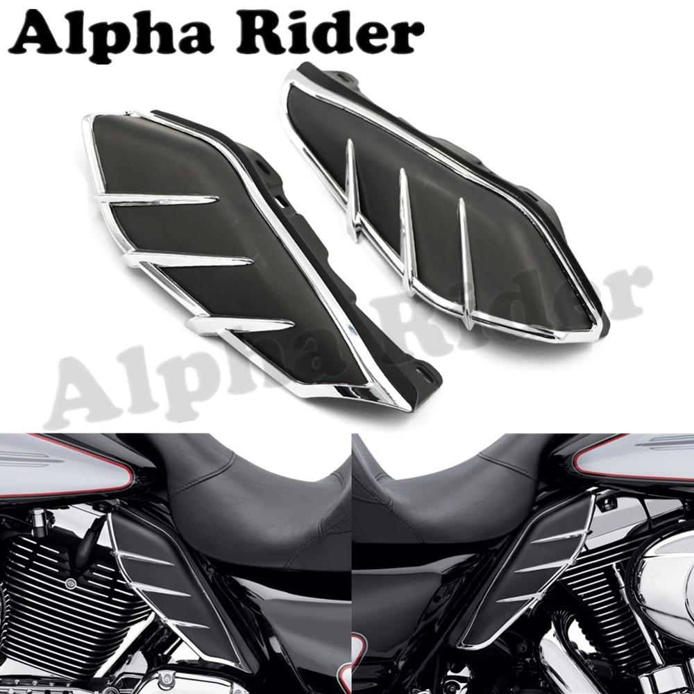 Mid-Frame Air Deflector w/ Trim for Harley Touring CVO Road King Street Electra Tri Glide Ultra Limited Classic Custom 2009-2016 billet saddlebag latch covers w screws for harley electra street tour glide classic fltc road king hard bags 93 13
