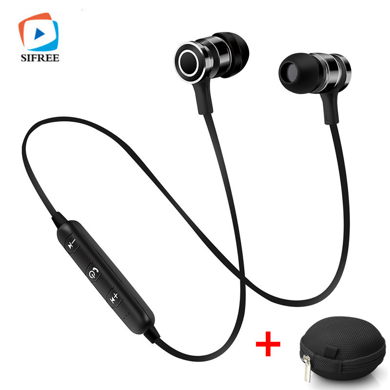 Bluetooth Earphone Sport Wireless Running Headset With Mic magnetic control for IOS Andriod Smartphone MP3 Stereo Earphone+Bag new dacom carkit mini bluetooth headset wireless earphone mic with usb car charger for iphone airpods android huawei smartphone
