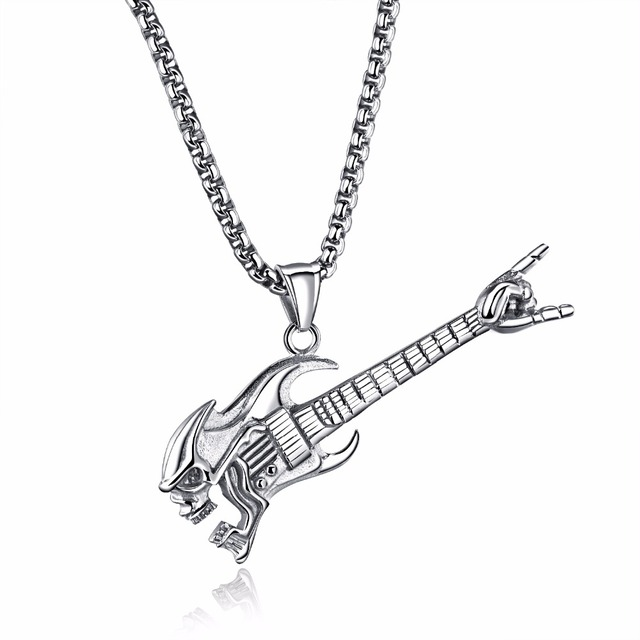Long Guitar Necklace With Victory Sign Electric Guitar Necklace In