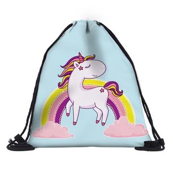 3D Unicorn Fashion Printed Drawstring Bags for Girls