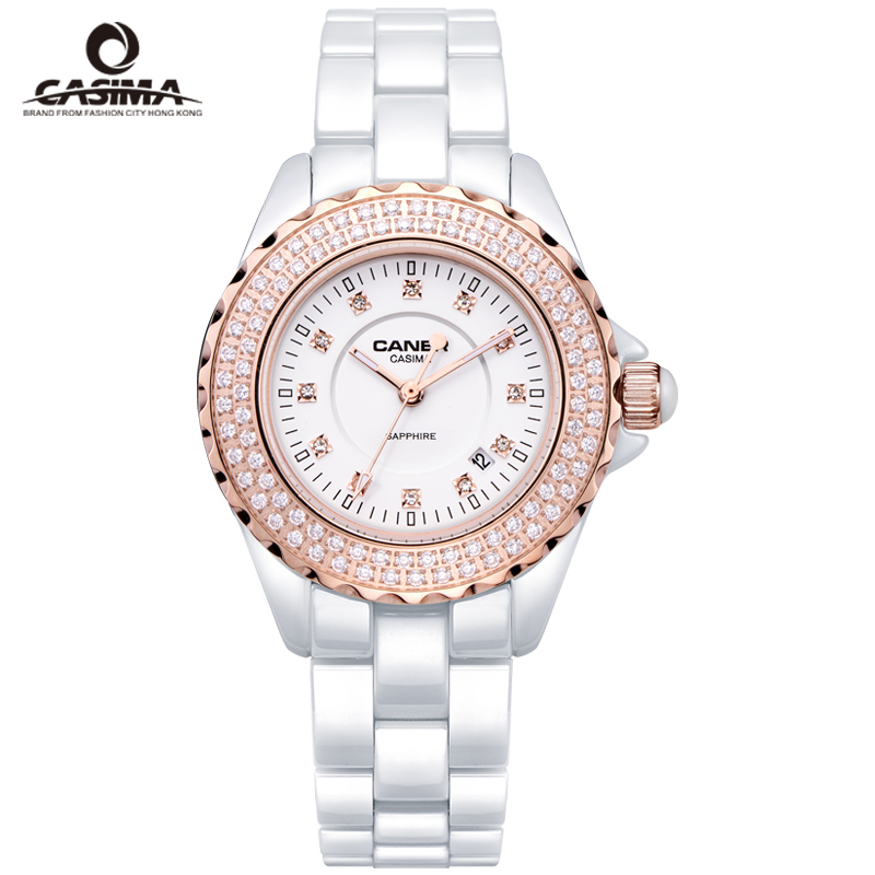 CASIMA luxury brand Women watches fashion casual elegant ceramic White quartz wrist watch Women Waterproof 100m #6702 elegant ceramic quartz wrist watch for female white silver 1 x 377