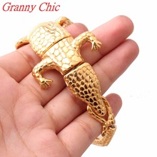 Granny Chic Bracelet Men Stainless Steel Punk Gold Crocodile Men's Cuff Bracelets Bracelets & Bangles Casting Jewelry Wristband