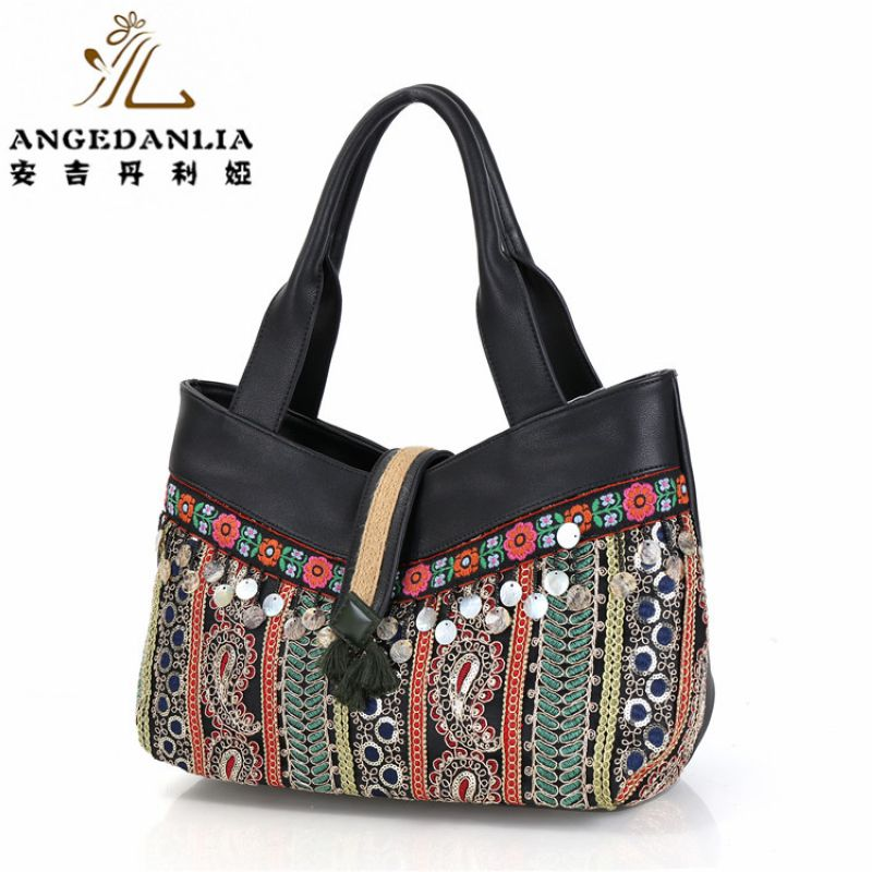 National flower stripe Shoulder Bag Embroidery Straw fabric Handmade Embroidered Bohemian Women Ethnic Cross-Body Handbag 2016 summer national ethnic style embroidery bohemia design tassel beads lady s handbag meessenger bohemian shoulder bag page 6