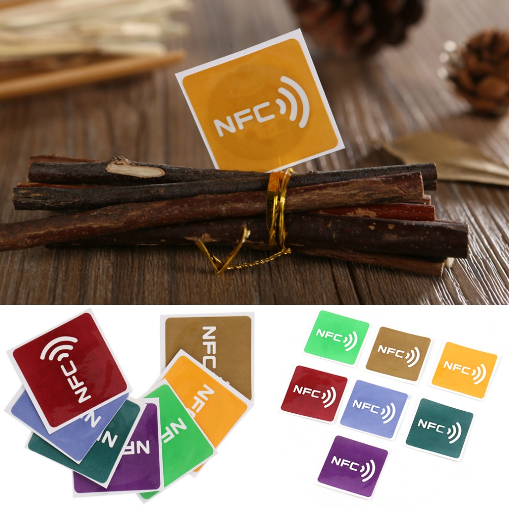 7 pcs Universal NFC Tags Multicolor Square NFC Tag Stickers Lables For All NFC Devices Use at the office commercial marketing 7pcs universal nfc tags multicolor square nfc tag stickers lables for nfc enabled device wholesale