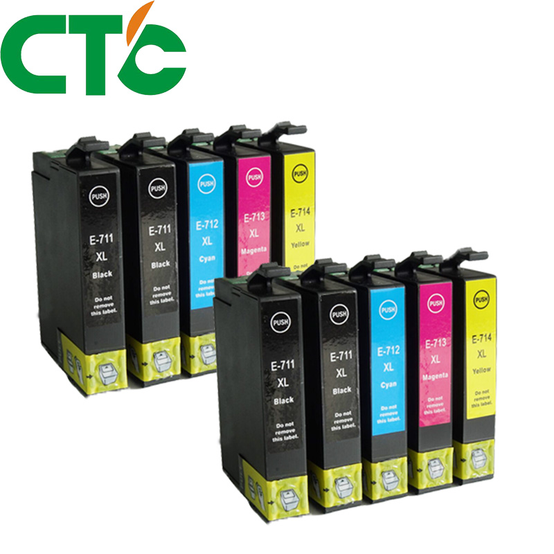 10PCS Compatible Ink Cartridge Replacement for Epson T0711 for Epson Stylus D78 D92 D120 SX210 SX215 SX100 SX200 DX4000 DX4050