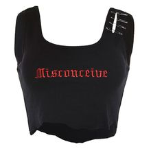 Womens Summer Sleeveless Ribbed Knit Crop Top Punk Gothic Letters Embroidered Cami Vest Hollow Out Pin Buckle Frayed Streetwear недорго, оригинальная цена