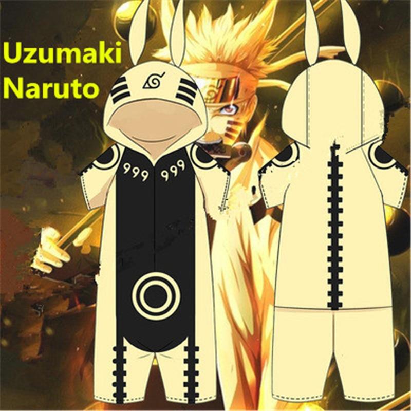 Cartoon Anime NARUTO Kurama kyuubi Uzumaki Naruto Cosplay Costumes Cotton Pajamas Women Man Kids Jumpsuits Home Costume Suits