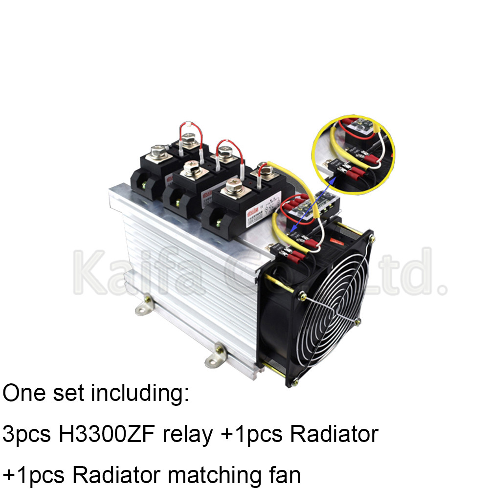 H3300ZF-3 three phase DC to AC 300A 4-32VDC industrial grade solid state relay set/SSR set Not incluidng tax ac 440v 60a three 3 phase four 4 wire 3p 4w ceramic industrial socket plug set page 2