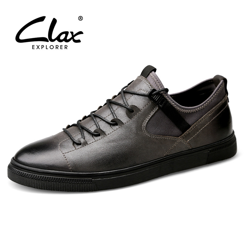 CLAX Mens Shoes Casual Spring Autumn Shoe Male Genuine Leather Footwear British Style Walking Shoe Fashion Flat Large Size new 2017 men s genuine leather casual shoes korean fashion style breathable male shoes men spring autumn slip on low top loafers