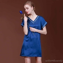 Women's Imitation Silk V-neck Sleepshirt Blue Pink Homewear Vintage Silky Mini Short Nightdress Short Sleeve Nightgown Sleepwear