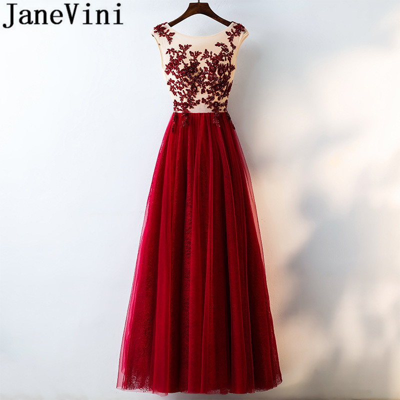 JaneVini Burgundy Crystal Long Prom Dress Tulle Sleeveless Women Bridesmaid Dresses 2018 A Line Robes Arabic Wedding Party Gowns