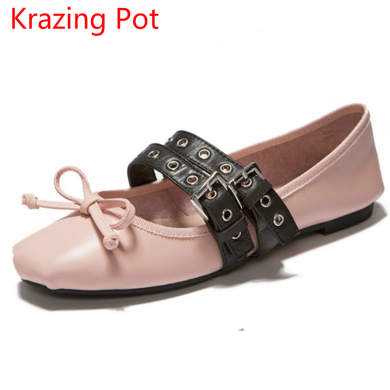 Fashion Autumn Flat with Square Toe Sexy Genuine Leather Superstar Sexy Sweet Ballet Flats Lace Up Women Casual Dance Shoes L65 women flat polka dot square toe lace up casual shoes new arrival fashion genuine leather spring autumn shoes 20170214
