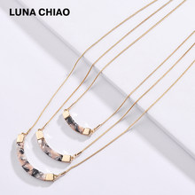LUNA CHIAO 2019 New Arrival Jewelry Snake Chain Lucite Resin Acrylic Triple Layering Bars Pendant Necklaces for Women(China)