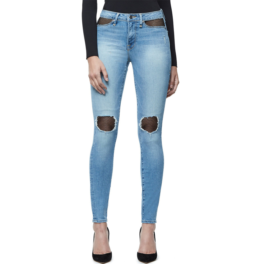 Mid Rise Butt Lifting Stretch Skinny Jeans Woman Fish Net Mom Jeans Ripped Denim Pants Outfit Curvy Long Slim Pencil Trouser new image
