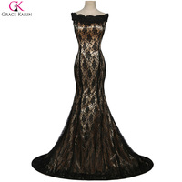 Grace Karin Prom Dresses 2016 Vestidos Elegantes Long Dress Formal Groom Mother Brides Dinner Black Lace