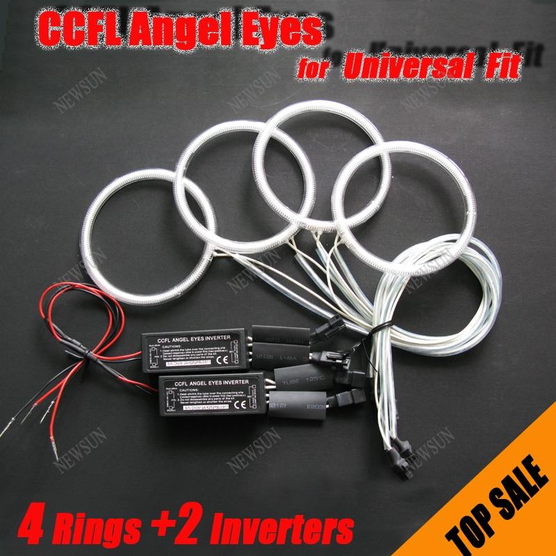 Hot selling 8000K Ultra White 4x CCFL Angel Eyes Halo Rings For Universal Fit/ Car Light (4 rings + 2 Inverters) цены онлайн