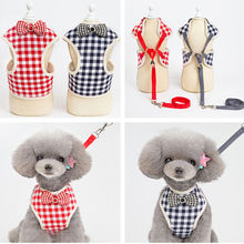 Dog clothes spring and summer dog pet chest back large grid