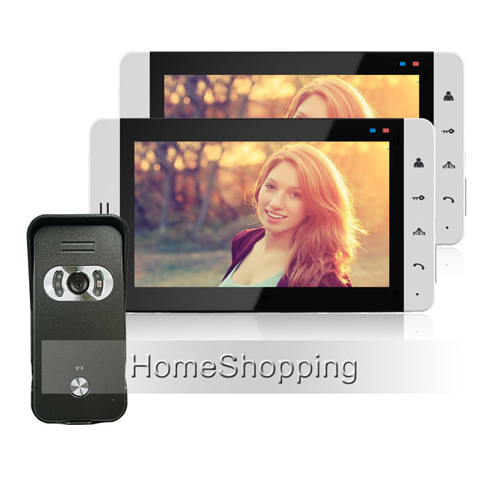 FREE SHIPPING Home Wired 7 inch TFT Video Doorphone Intercom System + 2 Touch White Monitor + Outdoor Intercom Camera IN STOCK