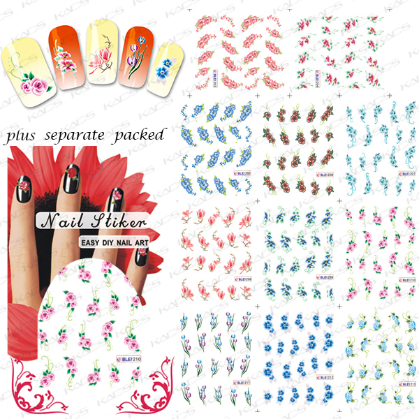 2015 NEW 50PCS/lot  BLE1203-1279  Flowers Bow Lace Nail Art Stickers Beauty Nail Salon For Girls Water Transfer