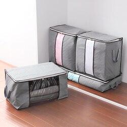Gray M-XL Size Foldable Storage Bag Clothes Blanket Pillow Quilt Closet Sweater Box Pouch Organizer Wardrobe Helper 63992