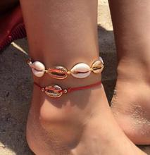 Bohemia Shell Red Rope Anklet Set For Women Girl Adjustable Charming Beach Foot Chains Bracelet Wholesale