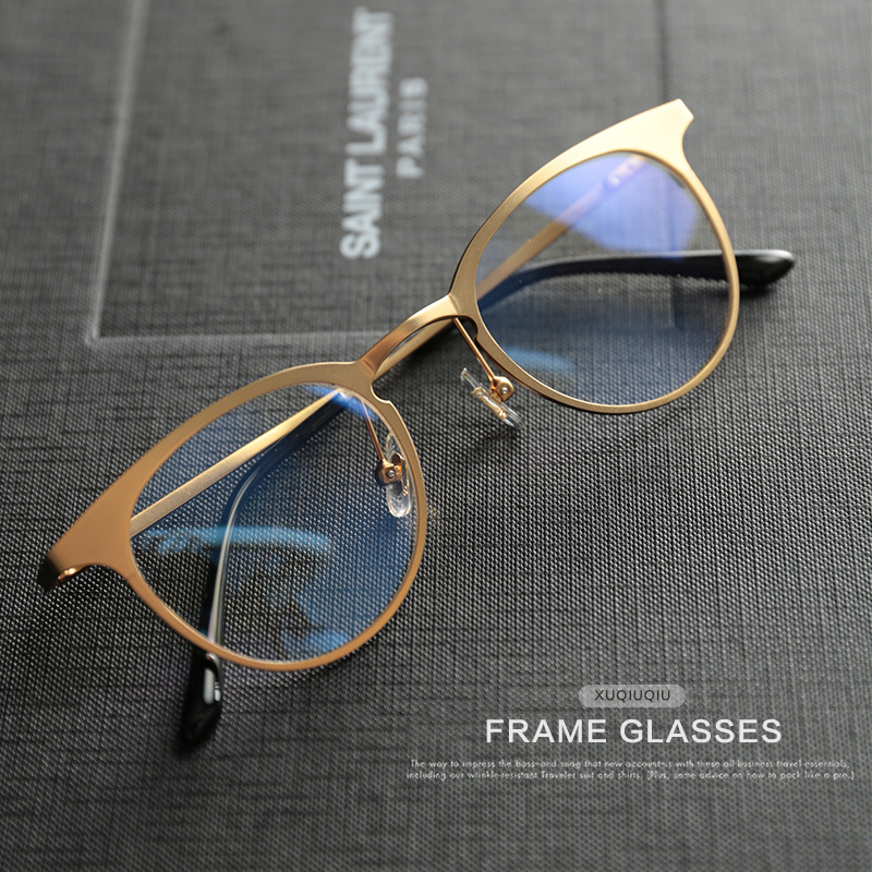 246f291aa60 Hot Sale Unisex Gold Eye Glasses Frame Men Women Eyeglasses Vintage For Mens  Metal Eyeglass Frames Eyewear Clear Fashion Star-in Eyewear Frames from  Apparel ...
