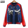 Laisiyi Apparel 2016 Women National Embroidery Bomber Jacket Coats Vintage Jackets Tops Fashion Couple Lovers Jaqueta ASCO10031