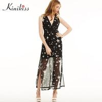 Kinikiss Maxi Summer Dress 2017 Women Spaghetti Strap Backless Black Beach Long Dress Star Sexy Fashion