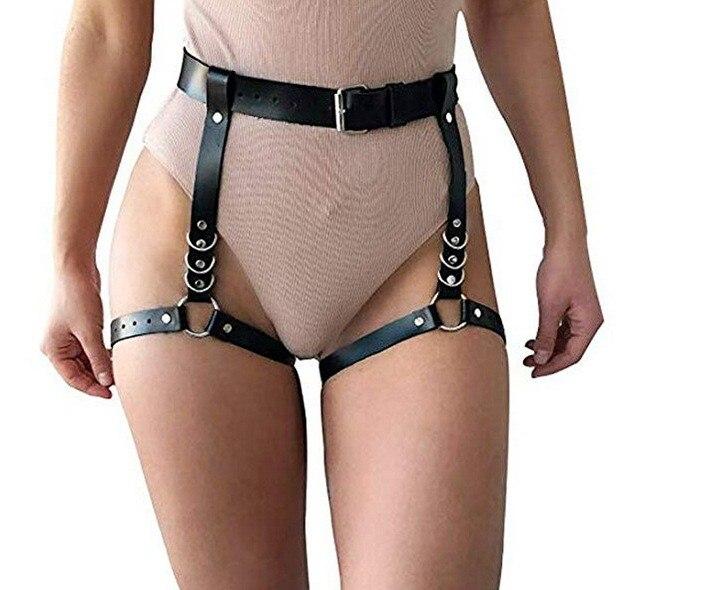 Fabricant en gros femme adulte produits de sexe en cuir noir jambe Bandage ceinture taille en cuir pantalon