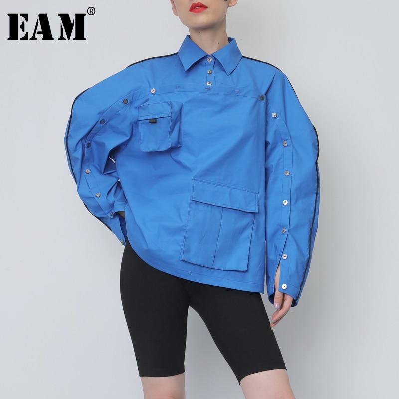 [EAM] 2019 nouveau automne revers cou à manches longues lâche grande taille évider poches chemise asymétrique femmes Blouse mode marée JY076