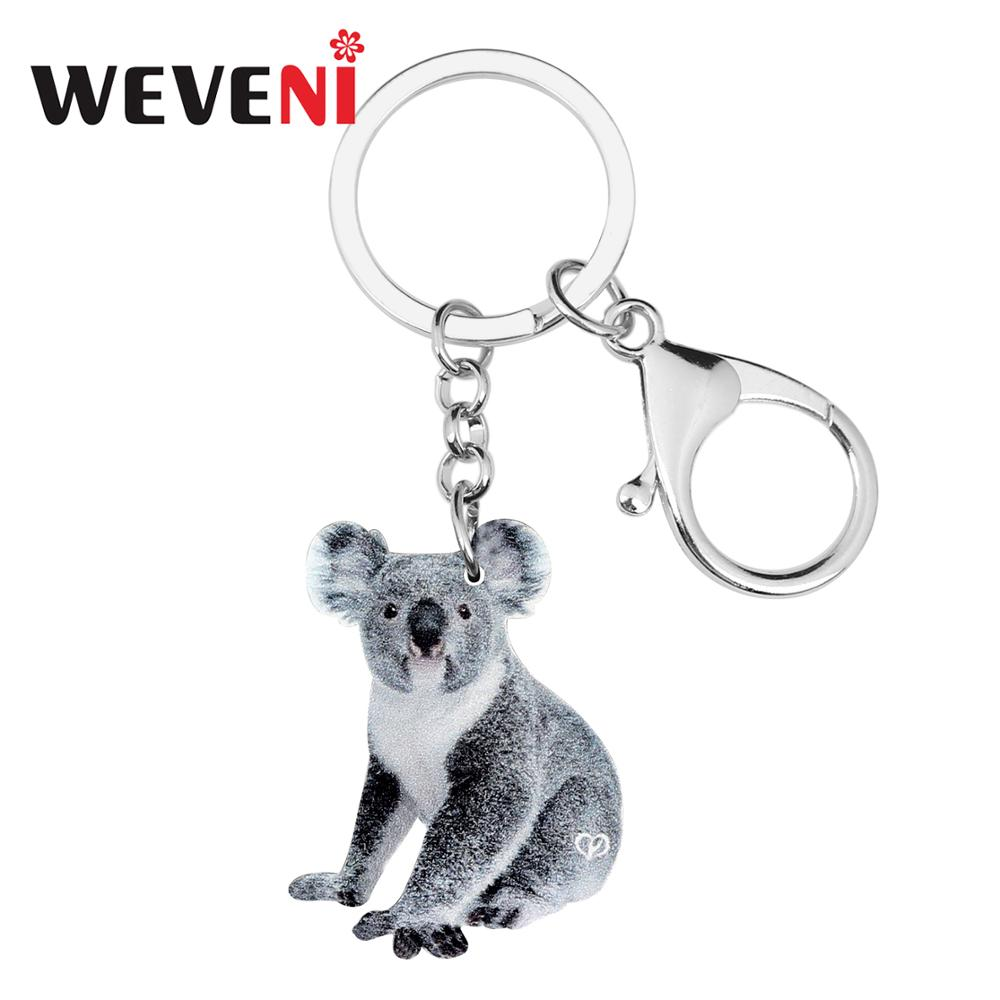 WEVENI Acrylic Novelty Cute Koala Key Chains Keychains Rings Animal Jewelry For Women Girls Charms Gift Australian Souvenir