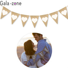 Gala-zone Love Heart Rustic Hessian Jute Linen Bunting Flags Burlap Lace Pennant Party Garland Wedding Decoration(China)