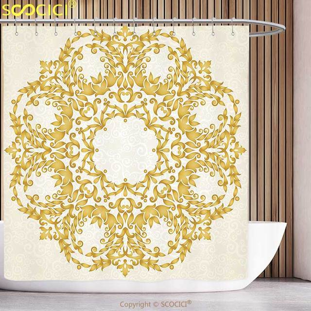 Unique Shower Curtain Victorian Decor Traditional Gold Floral Round Circle  With Baroque Elements Turkish Ottoman Style