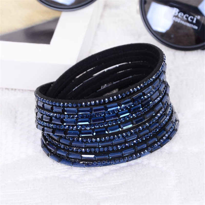 2019 New Fashion Trendy Bracelet Long Crystal Charm Leather Wrap Bracelets & bangles For Women Multilayer Rhinestone Hot Sale